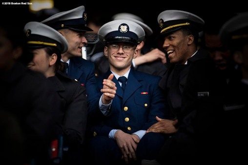 BOSTON, MA - APRIL 20: Navy Cadets react during a game between Army West Point and the Naval Academy on April 20, 2018 at Fenway Park in Boston, Massachusetts. (Photo by Billie Weiss/Boston Red Sox/Getty Images) *** Local Caption ***