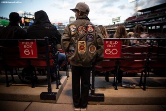BOSTON, MA - APRIL 20: A young fan looks on during a game between Army West Point and the Naval Academy on April 20, 2018 at Fenway Park in Boston, Massachusetts. (Photo by Billie Weiss/Boston Red Sox/Getty Images) *** Local Caption ***