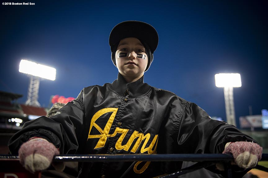 BOSTON, MA - APRIL 20: A young fan of Army poses for a portrait during a game between Army West Point and the Naval Academy on April 20, 2018 at Fenway Park in Boston, Massachusetts. (Photo by Billie Weiss/Boston Red Sox/Getty Images) *** Local Caption ***
