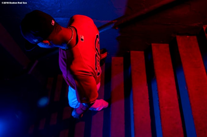BOSTON, MA - APRIL 27: Eduardo Nunez #36 of the Boston Red Sox walks down the stairs in the tunnel before a game against the Tampa Bay Rays on April 27, 2018 at Fenway Park in Boston, Massachusetts. (Photo by Billie Weiss/Boston Red Sox/Getty Images) *** Local Caption *** Eduardo Nunez