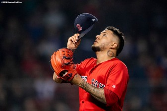 BOSTON, MA - APRIL 27: Hector Velazquez #76 of the Boston Red Sox reacts as he exits the game during the eighth inning of a game against the Tampa Bay Rays on April 27, 2018 at Fenway Park in Boston, Massachusetts. (Photo by Billie Weiss/Boston Red Sox/Getty Images) *** Local Caption *** Hector Velazquez