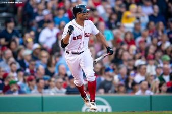 BOSTON, MA - APRIL 28: Xander Bogaerts #2 of the Boston Red Sox reacts as he hits an RBI single during the third inning of a game against the Tampa Bay Rays on April 28, 2018 at Fenway Park in Boston, Massachusetts. (Photo by Billie Weiss/Boston Red Sox/Getty Images) *** Local Caption *** Xander Bogaerts
