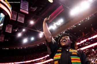 05/04/18 - BOSTON, MA. - Northeastern University celebrated its 116th Commencement on May 4, 2018. President Joseph E. Aoun led the undergraduate ceremony, which was held at TD Garden in Boston. Actor, advocate, and athlete Aimée Mullins delivered the Commencement address. Northeastern conferred honorary degrees upon a distinguished group of influential figures: Paula Kerger, CEO of PBS, John Sexton, president emeritus and professor, New York University, and Anthony Foxx, former U.S. Secretary of Transportation. Photo by Billie Weiss/Northeastern University