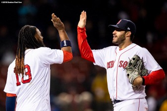 BOSTON, MA - APRIL 30: Hanley Ramirez #13 and J.D. Martinez #28 of the Boston Red Sox celebrate a victory against the Kansas City Royals on April 30, 2018 at Fenway Park in Boston, Massachusetts. (Photo by Billie Weiss/Boston Red Sox/Getty Images) *** Local Caption *** J.D. Martinez; Hanley Ramirez