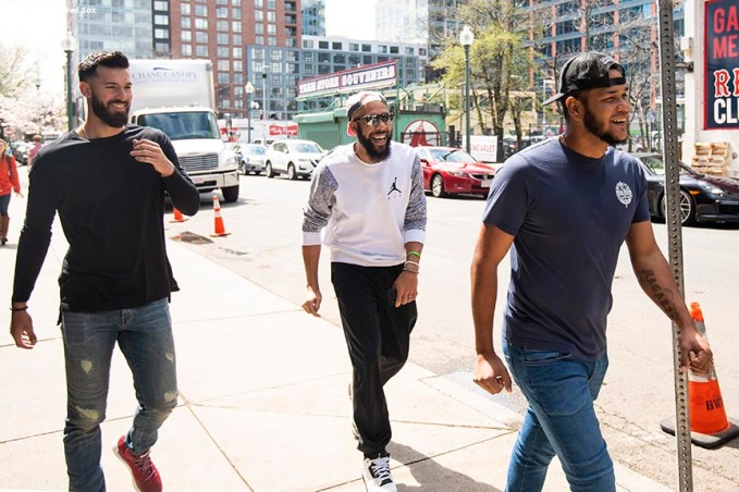 May 1, 2018, Boston, MA: Boston Red Sox pitchers Rick Porcello, David Price, and Eduardo Rodriguez react en route to a visit to Boston Children's Hospital in Boston, Massachusetts Tuesday, May 1, 2018. (Photo by Billie Weiss/Boston Red Sox)