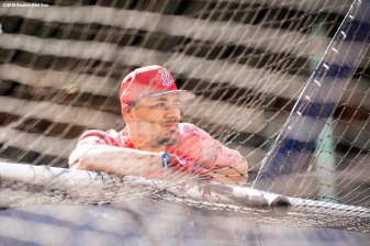 BOSTON, MA - MAY 1: Mookie Betts #50 of the Boston Red Sox looks on before a game against the Kansas City Royals on May 1, 2018 at Fenway Park in Boston, Massachusetts. (Photo by Billie Weiss/Boston Red Sox/Getty Images) *** Local Caption *** Mookie Betts