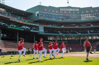 BOSTON, MA - MAY 1: Members of the Boston Red Sox stretch before a game against the Kansas City Royals on May 1, 2018 at Fenway Park in Boston, Massachusetts. (Photo by Billie Weiss/Boston Red Sox/Getty Images) *** Local Caption ***