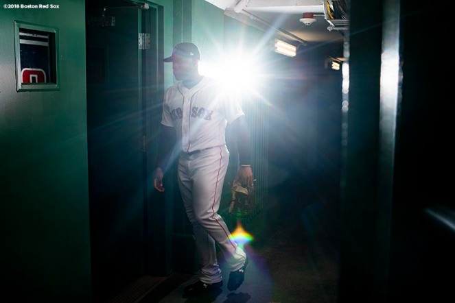 BOSTON, MA - MAY 1: Jackie Bradley Jr. #18 of the Boston Red Sox walks through the tunnel before a game against the Kansas City Royals on May 1, 2018 at Fenway Park in Boston, Massachusetts. (Photo by Billie Weiss/Boston Red Sox/Getty Images) *** Local Caption *** Jackie Bradley Jr.