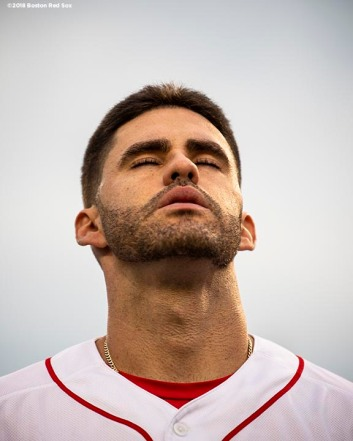 BOSTON, MA - MAY 1: J.D. Martinez #28 of the Boston Red Sox reacts before a game against the Kansas City Royals on May 1, 2018 at Fenway Park in Boston, Massachusetts. (Photo by Billie Weiss/Boston Red Sox/Getty Images) *** Local Caption *** J.D. Martinez