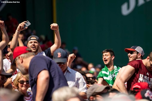 BOSTON, MA - MAY 2: Fans cheer during a game between the Boston Red Sox and the Kansas City Royals on May 2, 2018 at Fenway Park in Boston, Massachusetts. (Photo by Billie Weiss/Boston Red Sox/Getty Images) *** Local Caption ***