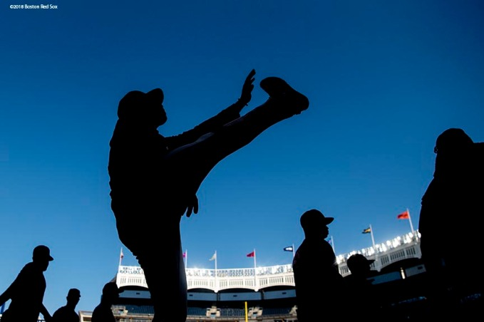 NEW YORK, NY - MAY 8: Jackie Bradley Jr. #19 of the Boston Red Sox warms up before a game against the New York Yankees on May 8, 2018 at Yankee Stadium in the Bronx borough of New York City. (Photo by Billie Weiss/Boston Red Sox/Getty Images) *** Local Caption *** Jackie Bradley Jr.