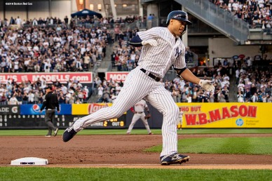 NEW YORK, NY - MAY 8: Giancarlo Stanton #27 of the New York Yankees rounds the bases after hitting a solo home run during the second inning of a game against the Boston Red Sox on May 8, 2018 at Yankee Stadium in the Bronx borough of New York City. (Photo by Billie Weiss/Boston Red Sox/Getty Images) *** Local Caption *** Giancarlo Stanton