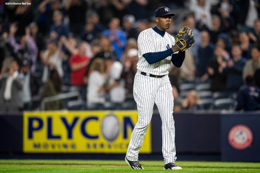 NEW YORK, NY - MAY 8: Aroldis Chapman #54 of the New York Yankees reacts after recording the final out against the Boston Red Sox on May 8, 2018 at Yankee Stadium in the Bronx borough of New York City. (Photo by Billie Weiss/Boston Red Sox/Getty Images) *** Local Caption *** Aroldis Chapman