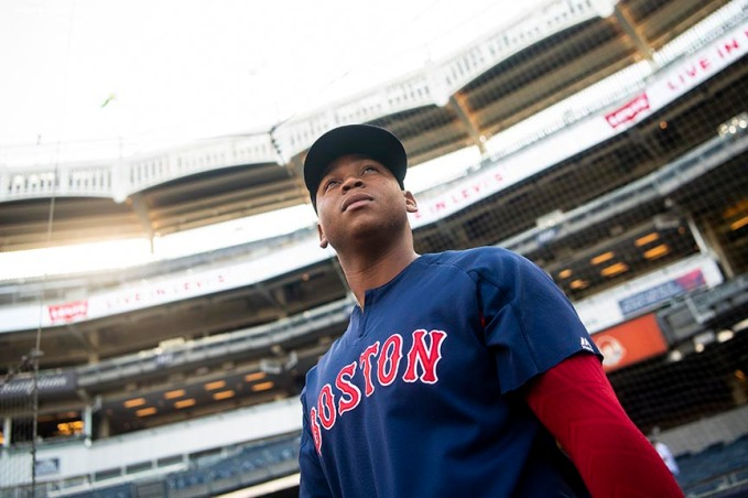 NEW YORK, NY - MAY 9: Rafael Devers #11 of the Boston Red Sox looks on before a game against the New York Yankees on May 9, 2018 at Yankee Stadium in the Bronx borough of New York City. (Photo by Billie Weiss/Boston Red Sox/Getty Images) *** Local Caption *** Rafael Devers