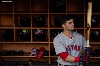 NEW YORK, NY - MAY 9: Andrew Benintendi #16 of the Boston Red Sox looks on before a game against the New York Yankees on May 9, 2018 at Yankee Stadium in the Bronx borough of New York City. (Photo by Billie Weiss/Boston Red Sox/Getty Images) *** Local Caption *** Andrew Benintendi