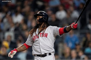 NEW YORK, NY - MAY 9: Hanley Ramirez #13 of the Boston Red Sox hits a go ahead two run home run during the seventh inning of a game against the New York Yankees on May 9, 2018 at Yankee Stadium in the Bronx borough of New York City. (Photo by Billie Weiss/Boston Red Sox/Getty Images) *** Local Caption *** Hanley Ramirez
