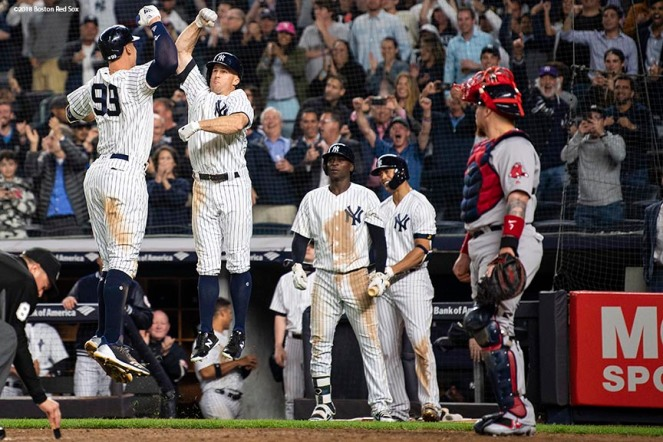NEW YORK, NY - MAY 9: Aaron Judge #99 of the New York Yankees reacts with Brett Gardner #11 after hitting a two run home run during the eighth inning of a game against the Boston Red Sox on May 9, 2018 at Yankee Stadium in the Bronx borough of New York City. (Photo by Billie Weiss/Boston Red Sox/Getty Images) *** Local Caption *** Aaron Judge; Brett Gardner
