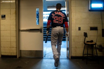NEW YORK, NY - MAY 10: J.D. Martinez #28 of the Boston Red Sox walks toward the dugout before a game against the New York Yankees on May 10, 2018 at Yankee Stadium in the Bronx borough of New York City. (Photo by Billie Weiss/Boston Red Sox/Getty Images) *** Local Caption *** J.D. Martinez