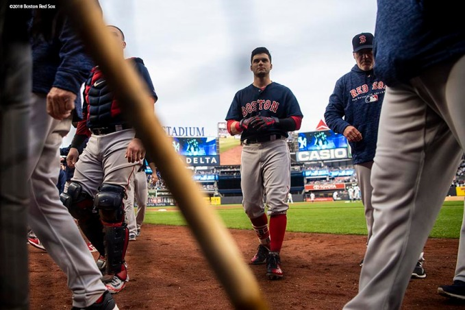 NEW YORK, NY - MAY 10: Andrew Benintendi #16 of the Boston Red Sox walks toward the dugout before a game against the New York Yankees on May 10, 2018 at Yankee Stadium in the Bronx borough of New York City. (Photo by Billie Weiss/Boston Red Sox/Getty Images) *** Local Caption *** Andrew Benintendi