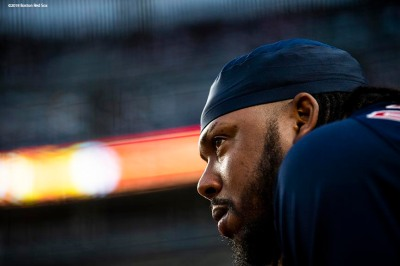 NEW YORK, NY - MAY 10: Hanley Ramirez #13 of the Boston Red Sox looks on during the second inning of a game against the New York Yankees on May 10, 2018 at Yankee Stadium in the Bronx borough of New York City. (Photo by Billie Weiss/Boston Red Sox/Getty Images) *** Local Caption *** Hanley Ramirez