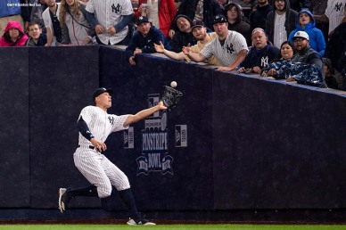 NEW YORK, NY - MAY 10: Aaron Judge #99 of the New York Yankees catches a fly ball during the eighth inning of a game against the Boston Red Sox on May 10, 2018 at Yankee Stadium in the Bronx borough of New York City. (Photo by Billie Weiss/Boston Red Sox/Getty Images) *** Local Caption *** Aaron Judge