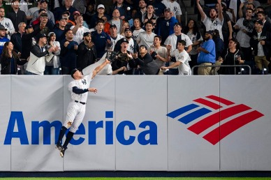 NEW YORK, NY - MAY 10: Aaron Judge #99 leaps as he attempts to catch a home run ball hit by J.D. Martinez #28 of the Boston Red Sox during the eighth inning of a game on May 10, 2018 at Yankee Stadium in the Bronx borough of New York City. (Photo by Billie Weiss/Boston Red Sox/Getty Images) *** Local Caption *** Aaron Judge