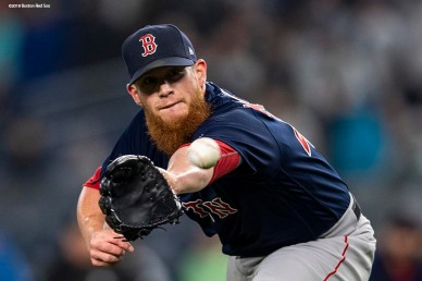 NEW YORK, NY - MAY 10: Craig Kimbrel #46 of the Boston Red Sox fields a come backer during the ninth inning of a game against the New York Yankees on May 10, 2018 at Yankee Stadium in the Bronx borough of New York City. (Photo by Billie Weiss/Boston Red Sox/Getty Images) *** Local Caption *** Craig Kimbrel