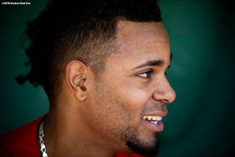 BOSTON, MA - MAY 14: Xander Bogaerts #2 of the Boston Red Sox reacts before a game against the Oakland Athletics on May 14, 2018 at Fenway Park in Boston, Massachusetts. (Photo by Billie Weiss/Boston Red Sox/Getty Images) *** Local Caption *** Xander Bogaerts