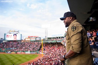 BOSTON, MA - MAY 14: Former designated hitter David Ortiz of the Boston Red Sox attends a game against the Oakland Athletics on May 14, 2018 at Fenway Park in Boston, Massachusetts. (Photo by Billie Weiss/Boston Red Sox/Getty Images) *** Local Caption *** David Ortiz