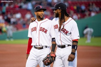 BOSTON, MA - MAY 14: Hanley Ramirez #13 and Eduardo Nunez #36 of the Boston Red Sox react before a game against the Oakland Athletics on May 14, 2018 at Fenway Park in Boston, Massachusetts. (Photo by Billie Weiss/Boston Red Sox/Getty Images) *** Local Caption *** Hanley Ramirez; Eduardo Nunez