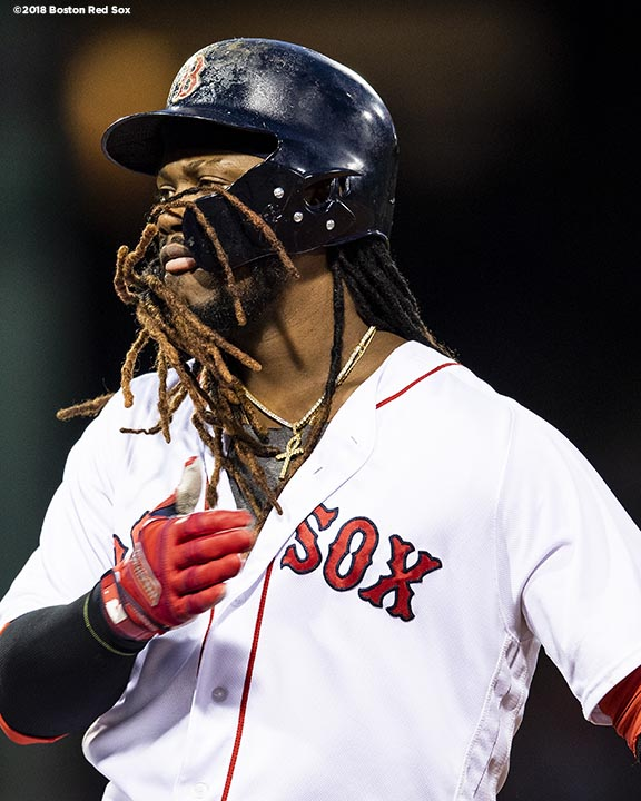 BOSTON, MA - MAY 14: Hanley Ramirez #13of the Boston Red Sox reacts after hitting an RBI single during the third inning of a game against the Oakland Athletics on May 14, 2018 at Fenway Park in Boston, Massachusetts. (Photo by Billie Weiss/Boston Red Sox/Getty Images) *** Local Caption *** Hanley Ramirez
