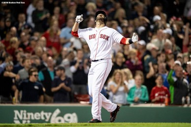 BOSTON, MA - MAY 14: J.D. Martinez #28 of the Boston Red Sox reacts after hitting a solo home run during the eighth inning of a game against the Oakland Athletics on May 14, 2018 at Fenway Park in Boston, Massachusetts. (Photo by Billie Weiss/Boston Red Sox/Getty Images) *** Local Caption *** J.D. Martinez