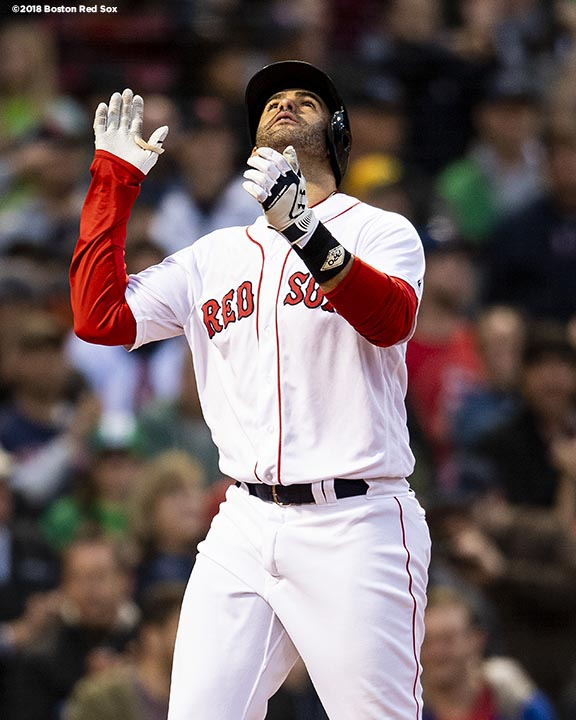 BOSTON, MA - MAY 16: J.D. Martinez #28 of the Boston Red Sox reacts after hitting a two run home run during the first inning of a game against the Oakland Athletics on May 16, 2018 at Fenway Park in Boston, Massachusetts. (Photo by Billie Weiss/Boston Red Sox/Getty Images) *** Local Caption *** J.D. Martinez