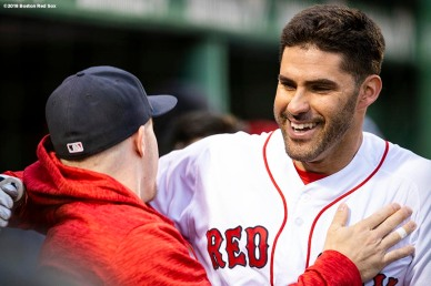 BOSTON, MA - MAY 16: J.D. Martinez #28 of the Boston Red Sox reacts with Brock Holt #12 after hitting a two run home run during the first inning of a game against the Oakland Athletics on May 16, 2018 at Fenway Park in Boston, Massachusetts. (Photo by Billie Weiss/Boston Red Sox/Getty Images) *** Local Caption *** J.D. Martinez; Brock Holt