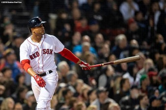 BOSTON, MA - MAY 16: Xander Bogaerts #2 of the Boston Red Sox hits a three run home run during the sixth inning of a game against the Oakland Athletics on May 16, 2018 at Fenway Park in Boston, Massachusetts. (Photo by Billie Weiss/Boston Red Sox/Getty Images) *** Local Caption *** Xander Bogaerts