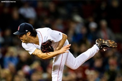 BOSTON, MA - MAY 16: Joe Kelly #56 of the Boston Red Sox delivers during the eighth inning of a game against the Oakland Athletics on May 16, 2018 at Fenway Park in Boston, Massachusetts. (Photo by Billie Weiss/Boston Red Sox/Getty Images) *** Local Caption *** Joe Kelly