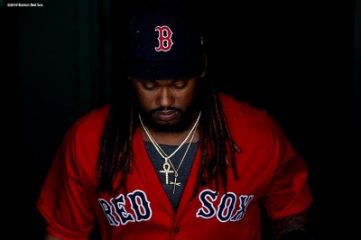 BOSTON, MA - MAY 18: Hanley Ramirez #13 of the Boston Red Sox walks onto the field before a game against the Baltimore Orioles on May 18, 2018 at Fenway Park in Boston, Massachusetts. (Photo by Billie Weiss/Boston Red Sox/Getty Images) *** Local Caption *** Hanley Ramirez