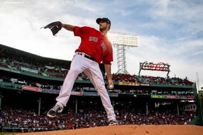 BOSTON, MA - MAY 18: Drew Pomeranz #13 of the Boston Red Sox warms up before a game against the Baltimore Orioles on May 18, 2018 at Fenway Park in Boston, Massachusetts. (Photo by Billie Weiss/Boston Red Sox/Getty Images) *** Local Caption *** Drew Pomeranz