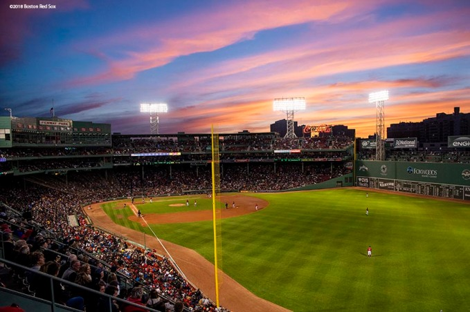 BOSTON, MA - MAY 18: A general view as the sun sets during a game between the Boston Red Sox and the Baltimore Orioles on May 18, 2018 at Fenway Park in Boston, Massachusetts. (Photo by Billie Weiss/Boston Red Sox/Getty Images) *** Local Caption ***