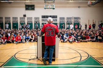 May 18, 2018, Boston, MA: Boston Red Sox broadcaster Joe Castiglione makes remarks during a visit for the Rally Against Cancer to Furnace Brook Middle School in Marshfield, Massachusetts Friday, May 18, 2018. (Photo by Billie Weiss/Boston Red Sox)
