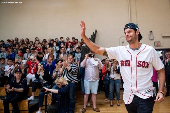 May 18, 2018, Boston, MA: Boston Red Sox pitcher Joe Kelly is introduced during a visit for the Rally Against Cancer to Furnace Brook Middle School in Marshfield, Massachusetts Friday, May 18, 2018. (Photo by Billie Weiss/Boston Red Sox)