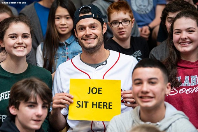 May 18, 2018, Boston, MA: Boston Red Sox pitcher Joe Kelly poses for a photograph with students during a visit for the Rally Against Cancer to Furnace Brook Middle School in Marshfield, Massachusetts Friday, May 18, 2018. (Photo by Billie Weiss/Boston Red Sox)