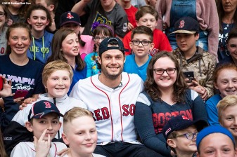 May 18, 2018, Boston, MA: Boston Red Sox pitcher Joe Kelly speaks during a visit for the Rally Against Cancer to Furnace Brook Middle School in Marshfield, Massachusetts Friday, May 18, 2018. (Photo by Billie Weiss/Boston Red Sox)