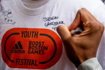 May 19, 2018, Boston, MA: Athletes greet fans during the Adidas Boost Games in Copley Square in Boston, Massachusetts Saturday, May 19, 2018. (Photo by Billie Weiss/Adidas)