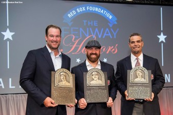 May 24, 2018, Boston, MA: Boston Red Sox Hall of Fame Class of 2018 inductees Derek Lowe, Kevin Youkilis, and Mike Lowell pose for a photograph during the Hall of Fame & Fenway Honors Gala at the Westin Copley Hotel in Boston, Massachusetts Thursday, May 24, 2018. (Photo by Billie Weiss/Boston Red Sox)