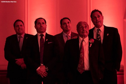 May 24, 2018, Boston, MA: Boston Red Sox Hall of Fame Class of 2018 Inductee Arthur D'Angelo looks on with his sons David, Bobby, Mark, & Steven during the Hall of Fame & Fenway Honors Gala at the Westin Copley Hotel in Boston, Massachusetts Thursday, May 24, 2018. (Photo by Billie Weiss/Boston Red Sox)