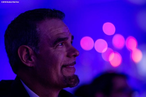 May 24, 2018, Boston, MA: Boston Red Sox Hall of Fame Class of 2018 Inductee Mike Lowell looks on during the Hall of Fame & Fenway Honors Gala at the Westin Copley Hotel in Boston, Massachusetts Thursday, May 24, 2018. (Photo by Billie Weiss/Boston Red Sox)