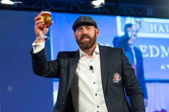 May 24, 2018, Boston, MA: Boston Red Sox Hall of Fame Class of 2018 Inductee Kevin Youkilis makes a toast during the Hall of Fame & Fenway Honors Gala at the Westin Copley Hotel in Boston, Massachusetts Thursday, May 24, 2018. (Photo by Billie Weiss/Boston Red Sox)