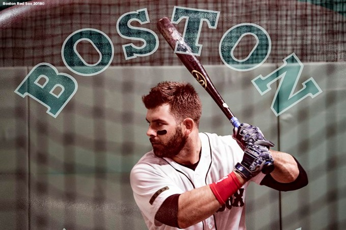 BOSTON, MA - MAY 28: Mitch Moreland #18 of the Boston Red Sox warms up before a game against the Toronto Blue Jays on May 28, 2018 at Fenway Park in Boston, Massachusetts. (Photo by Billie Weiss/Boston Red Sox/Getty Images) *** Local Caption *** Mitch Moreland