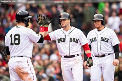 BOSTON, MA - MAY 28: Andrew Benintendi #16 of the Boston Red Sox reacts with Mitch Moreland #18 and Christian Vazquez #7 after hitting three run home run during the fourth inning of a game against the Toronto Blue Jays on May 28, 2018 at Fenway Park in Boston, Massachusetts. (Photo by Billie Weiss/Boston Red Sox/Getty Images) *** Local Caption *** Andrew Benintendi; Christian Vazquez; Mitch Moreland